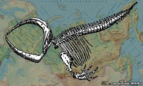 This reflection on the award-winning film Leviathan is done by Russian cartoonist Sergei Elkin (Svoboda.org).