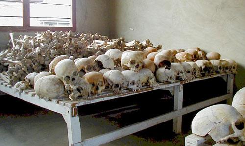 Rwandan Genocide Murambi skulls. From Wikipedia