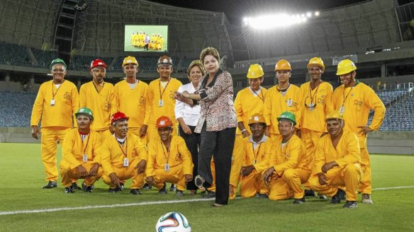 President Rousseff at the opningen of a new World Cup stadium in  Natal. FOTO: ROBERTO STUCKERT FILHO/AP/NTB SCANPIX