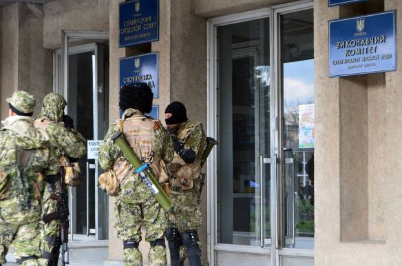 Insurgents occupy the City Council of Slavyansk in April. Photo: Wikipedia