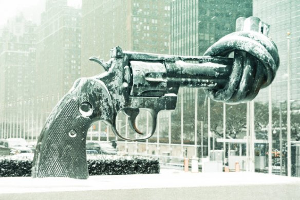 "he sculpture ""Non-Violence"" in front of the United Nations building in New York. Courtesy of Luke Redmond/Flickr."