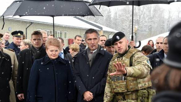 Jens Stoltenberd and Dalia Grybauskaite are not amused with Russian military activities in the Baltic.