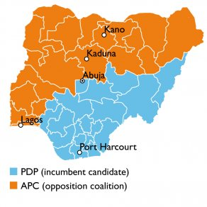 Likely majority votes in the 2015 Nigerian presidential election.