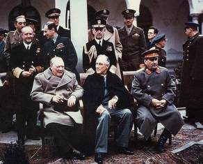 """Yalta summit 1945 with Churchill, Roosevelt, Stalin"" by [1] The source web page include the following caption: Photo #: USA C-543 (Color). Licensed under Public Domain via Wikimedia Commons - http://commons.wikimedia.org/wiki/File:Yalta_summit_1945_with_Churchill,_Roosevelt,_Stalin.jpg#mediaviewer/File:Yalta_summit_1945_with_Churchill,_Roosevelt,_Stalin.jpg"