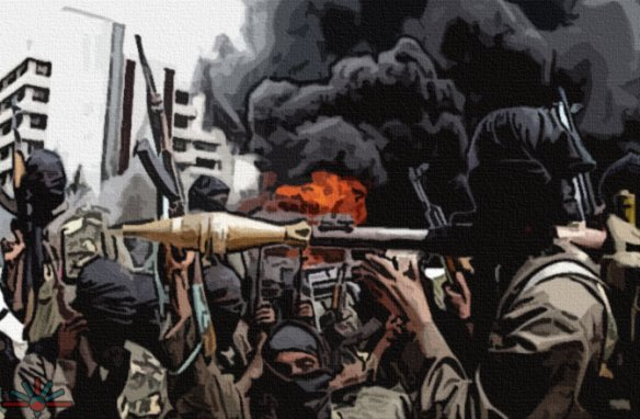 A stylized portrait of Boko Haram. By AK Rockefeller.
