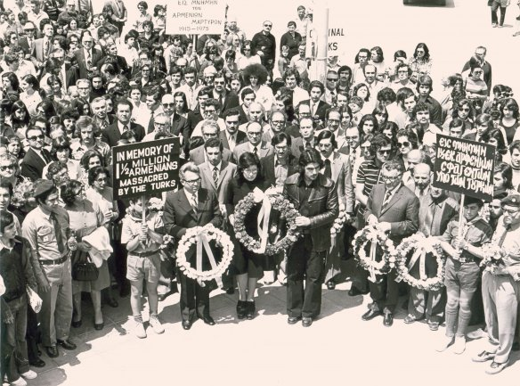 First Armenian Genocide march at Eleftheria square in Nicosia (1975). Wikimedia Commons