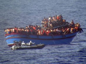 Eritrean migrants crossing into Italian waters.