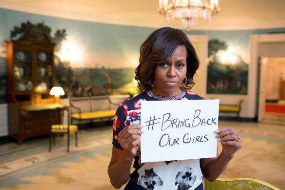 US First Lady Michelle Obama initiated the #BringBackOurGirls hashtag