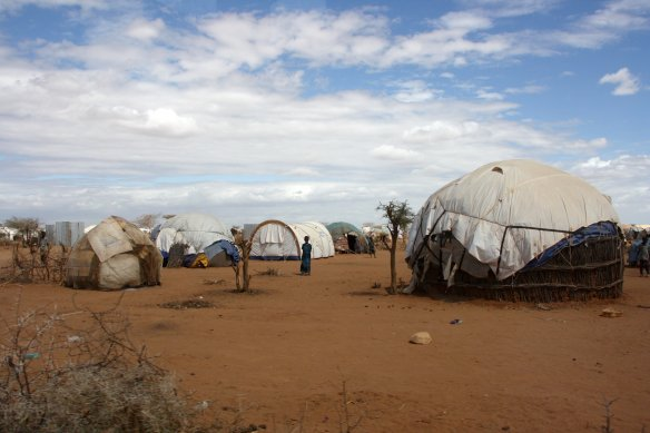 Refugee shelters in the Somali refugee camp Dadaab in Northern Kenya.