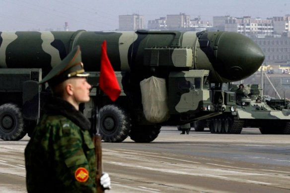 Russian Topol-M intercontinental ballistic missile is displayed during a Victory Day parade rehearsal on April 24, 2009 in Alabino, outside Moscow, Russia. Photo: Dmitry Korotayev