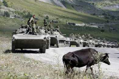 Russian troops moving into Georgia in August 2008.