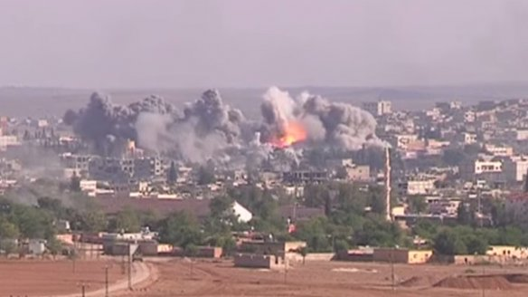 ISIS positions in Kobane under attack.