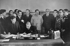 Japanese Foreign Minister Matsuoka signing Soviet-Japanese Neutrality Pact.