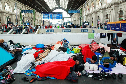 Refugees at Budapest Keleti railway station. Photo: Rebecca Harms. cc-by-sa-2.0.