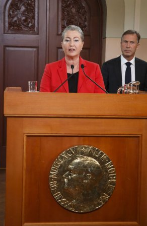 Chair of the Nobel Committee, Kaci Kullman Five, announcing the Nobel peace Prize 2015