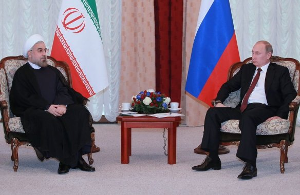 Hassan Rouhani and Vladimir Putin meeting in 2013. Wikimedia Commons