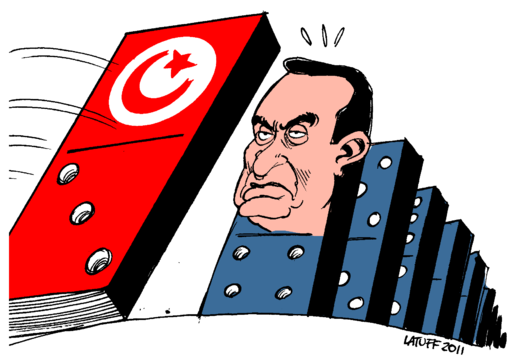 Hosni Mubarak facing the Tunisian domino effect. Carlos Latuff 2011.
