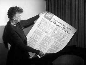 Eleanor Roosevelt with the English version of the United Nations Universal Declaration of Human Rights