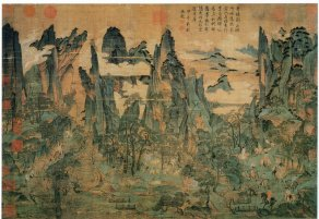 Emperor Xuanzong of Tang fleeing to Sichuan province from Chang'an to escape the violence. Artist: Li Zhaodao, from the 11th century