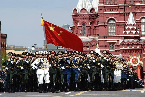 Chinese troops on the march in the Red Square