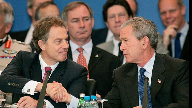 Tony Blair and George W. Bush in 2003.