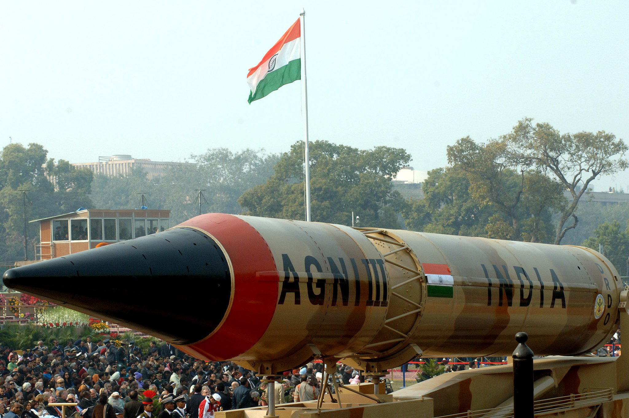 The Agni - III Missile passes through the Rajpath during the 59th Republic Day Parade - 2008, in New Delhi on January 26, 2008.