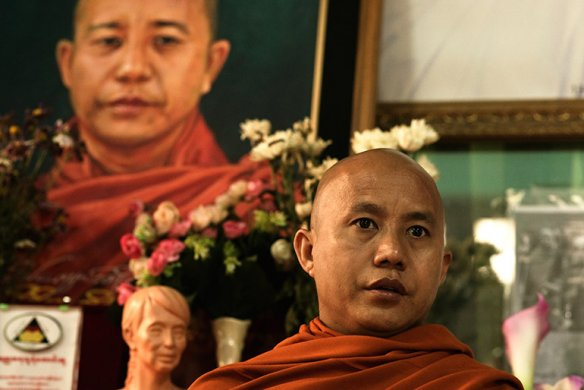The monk Ashin Wirathu, famous for his inflammatory speeches, at the Maseyein Monastery in Mandalay, Myanmar. Photo: Vincenzo Floramo