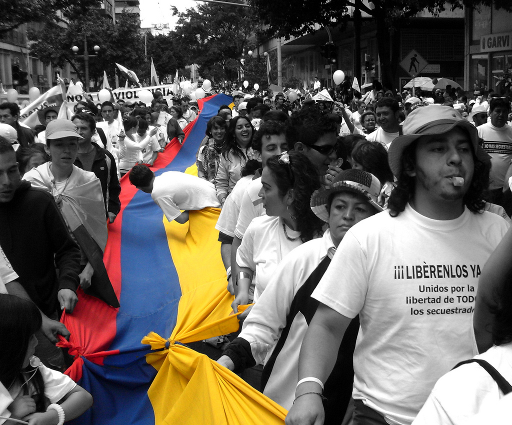 Colombians marching for the freedom of the people kidnapped by the FARC and the ELN. PHOTO: Wikimedia Commons